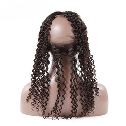 Human Hair Frontal, Curly 360 Lace Frontal, 12-28 inches