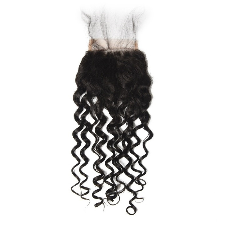Cheapest Virgin Hair Water Wave Lace Closure, Natural Back lc007