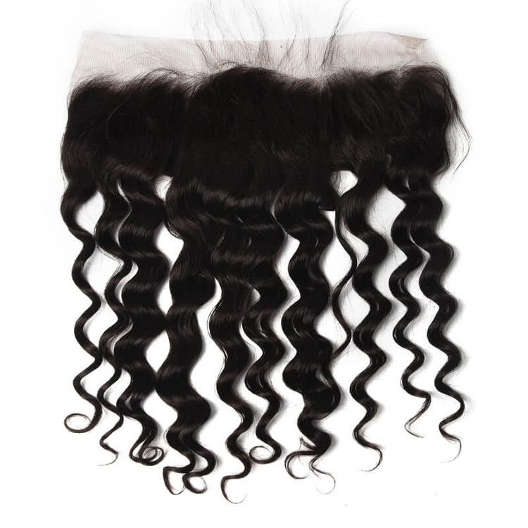 Human Hair 13*4 Loose Curly Lace Frontal, Smooth & Shiny 8-28 Inches lf005