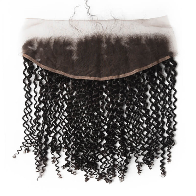 Human Hair Frontal, Kinky Curly Lace Frontal, 10-28 inches lf008