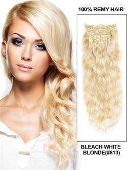 Bleach White Blonde(#613) Ultimate Body Wave Clip In Remy Hair Extensions 9 Pieces cih090