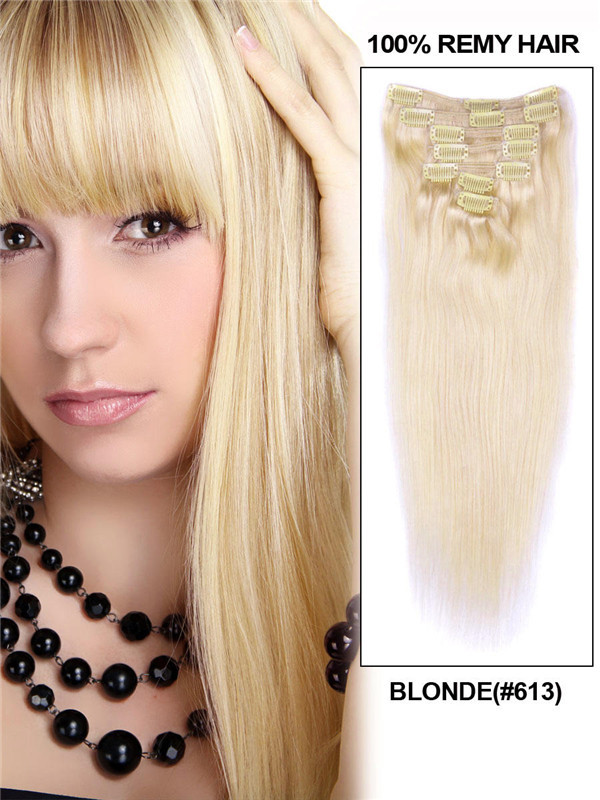 Bleach White Blonde(#613) Deluxe Straight Clip In Human Hair Extensions 7 Pieces