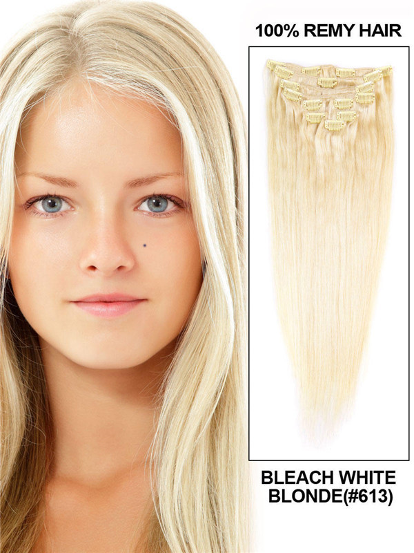 Bleach White Blonde(#613) Ultimate Straight Clip In Remy Hair Extensions 9 Pieces cih093