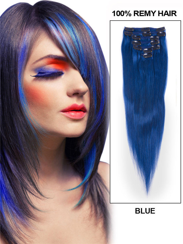 Blue(#Blue) Deluxe Straight Clip In Human Hair Extensions 7 Pieces