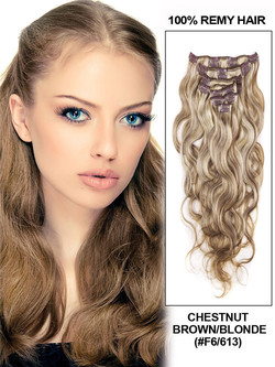 Chestnut Brown/Blonde(#F6-613) Premium Body Wave Clip In Hair Extensions 7 Pieces cih097