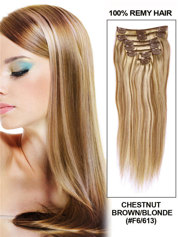 Chestnut Brown/Blonde(#F6-613) Premium Straight Clip In Hair Extensions 7 Pieces