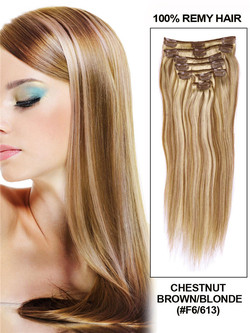 Chestnut Brown/Blonde(#F6-613) Premium Straight Clip In Hair Extensions 7 Pieces cih100