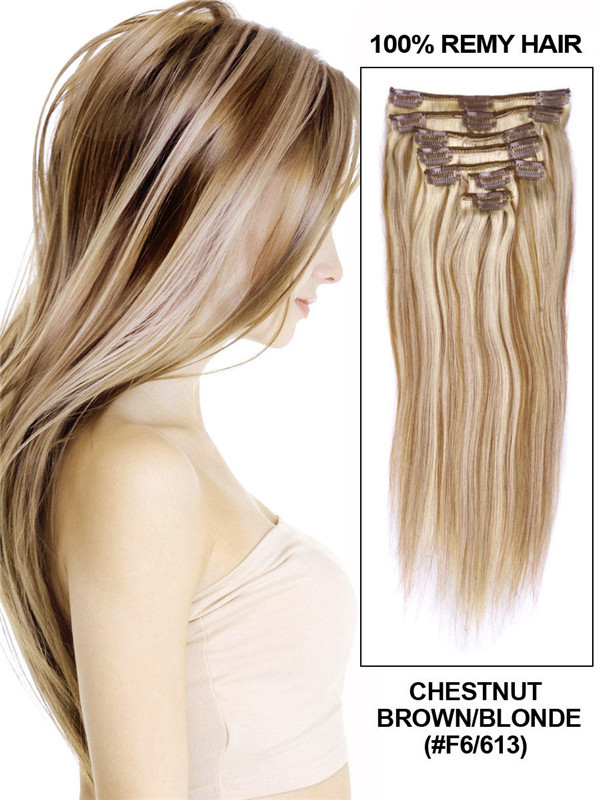 Chestnut Brown/Blonde(#F6-613) Deluxe Straight Clip In Human Hair Extensions 7 Pieces