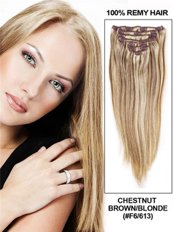 Chestnut Brown/Blonde(#F6-613) Ultimate Straight Clip In Remy Hair Extensions 9 Pieces cih102