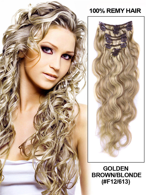 Golden Brown/Blonde(#F12-613) Deluxe Body Wave Clip In Human Hair Extensions 7 Pieces