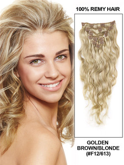 Golden Brown/Blonde(#F12-613) Ultimate Body Wave Clip In Remy Hair Extensions 9 Pieces cih105