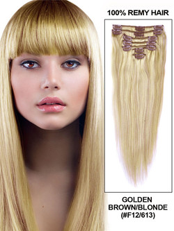 Golden Brown/Blonde(#F12-613) Premium Straight Clip In Hair Extensions 7 Pieces cih106
