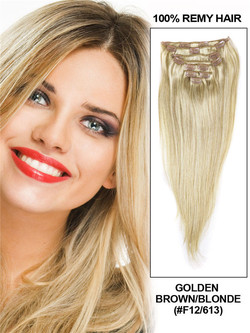 Golden Brown/Blonde(#F12-613) Deluxe Straight Clip In Human Hair Extensions 7 Pieces cih107