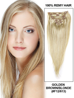 Golden Brown/Blonde(#F12-613) Ultimate Straight Clip In Remy Hair Extensions 9 Pieces cih108