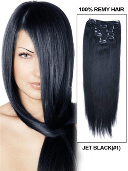 Jet Black(#1) Premium Straight Clip In Hair Extensions 7 Pieces cih002