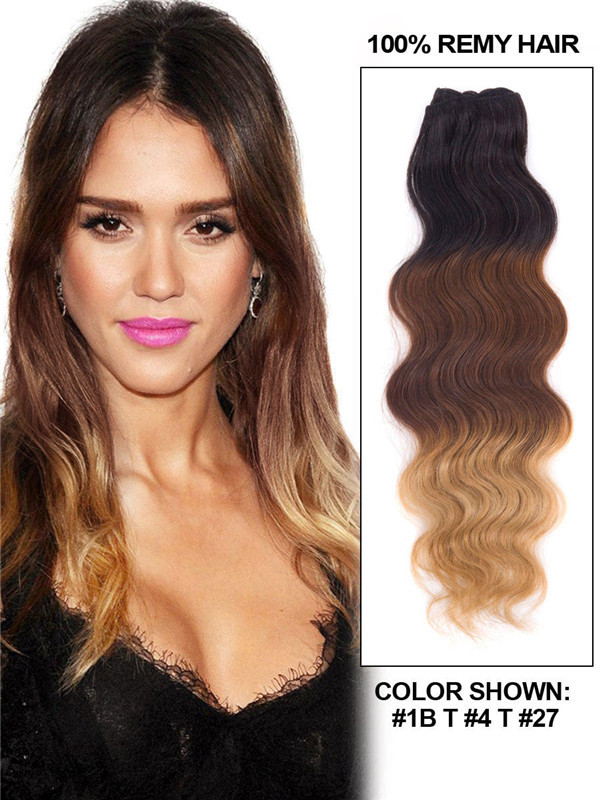 Triple Ombre(#Ombre) Deluxe Straight Clip In Human Hair Extensions 7 Pieces cih110