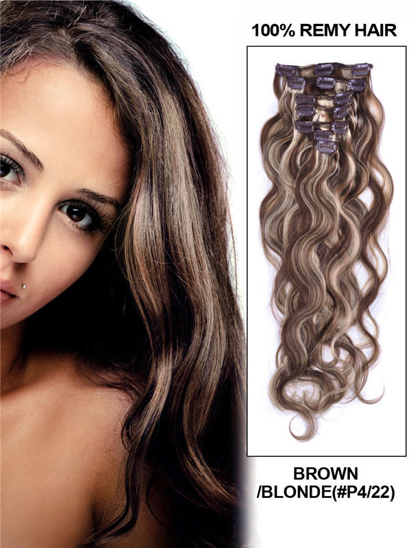 Brown/Blonde(#P4-22) Deluxe Body Wave Clip In Human Hair Extensions 7 Pieces