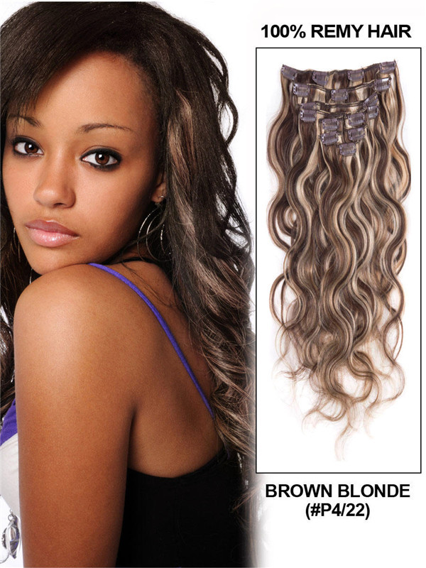 Brown/Blonde(#P4-22) Ultimate Body Wave Clip In Remy Hair Extensions 9 Pieces