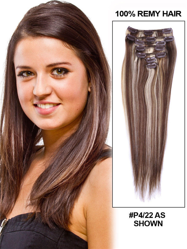 Brown/Blonde(#P4-22) Premium Straight Clip In Hair Extensions 7 Pieces