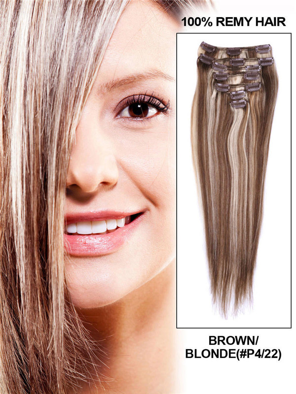 Brown/Blonde(#P4-22) Deluxe Straight Clip In Human Hair Extensions 7 Pieces cih116
