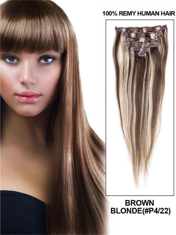 Brown/Blonde(#P4-22) Ultimate Straight Clip In Remy Hair Extensions 9 Pieces cih117