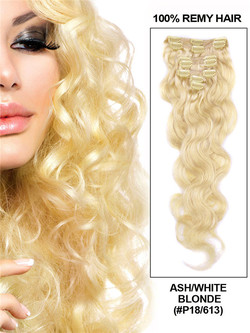 Ash/White Blonde(#P18-613) Deluxe Body Wave Clip In Human Hair Extensions 7 Pieces cih119