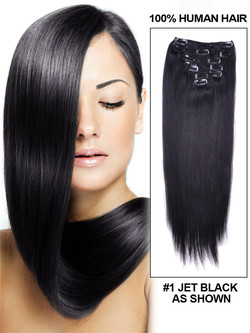 Jet Black(#1) Straight Deluxe Clip In Human Hair Extensions 7 Pieces