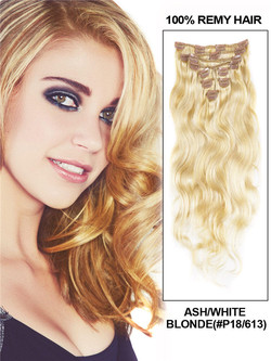 Ash/White Blonde(#P18-613) Ultimate Body Wave Clip In Remy Hair Extensions 9 Pieces cih120