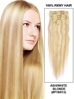 Ash/White Blonde(#P18-613) Deluxe Straight Clip In Human Hair Extensions 7 Pieces cih122