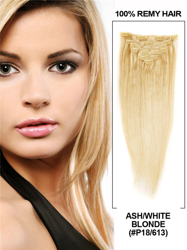 Ash/White Blonde(#P18-613) Ultimate Straight Clip In Remy Hair Extensions 9 Pieces cih123