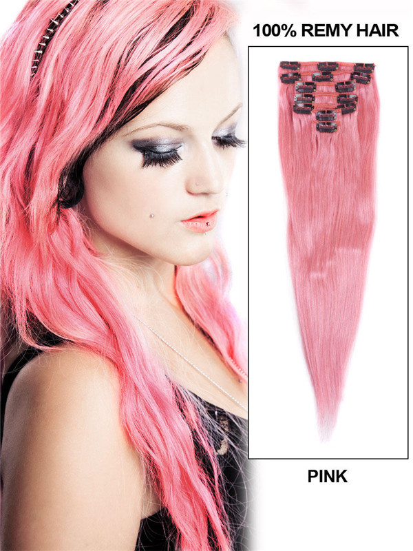 Pink(#Pink) Premium Straight Clip In Hair Extensions 7 Pieces cih124