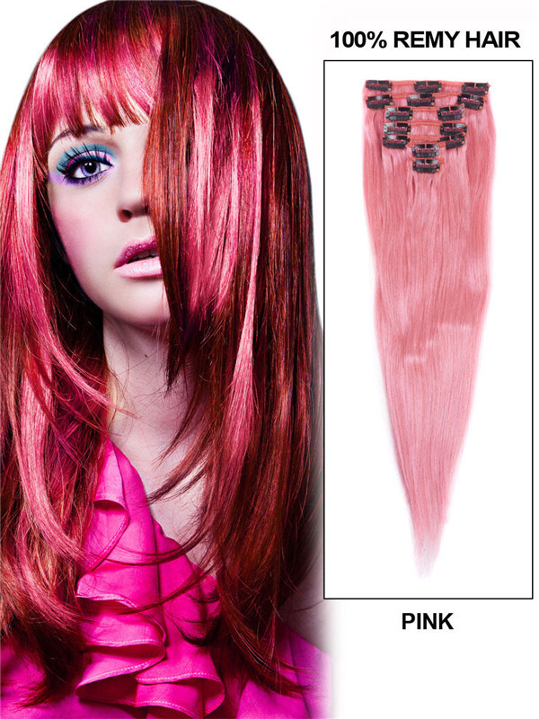 Pink(#Pink) Deluxe Straight Clip In Human Hair Extensions 7 Pieces cih125