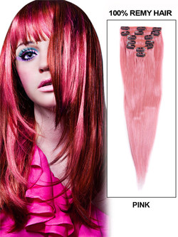 Pink(#Pink) Ultimate Straight Clip In Remy Hair Extensions 9 Pieces-np cih126