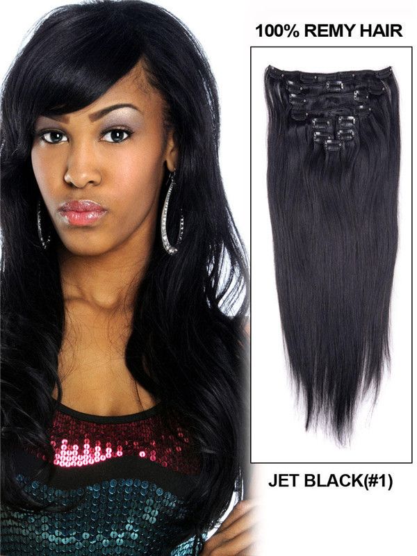 Jet Black(#1) Straight Ultimate Clip In Remy Hair Extensions 9 Pieces