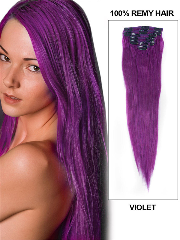 Violet(#Violet) Premium Straight Clip In Hair Extensions 7 Pieces cih130