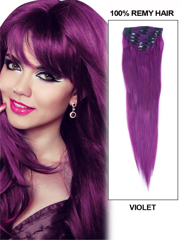 Violet(#Violet) Deluxe Straight Clip In Human Hair Extensions 7 Pieces cih131