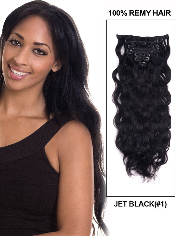 Jet Black(#1) Body Wave Deluxe Clip In Human Hair Extensions 7 Pieces