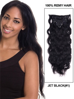 Jet Black(#1) Body Wave Deluxe Clip In Human Hair Extensions 7 Pieces cih005