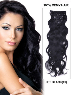 Jet Black(#1) Body Wave Premium Clip In Hair Extensions 7 Pieces cih006