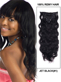 Jet Black(#1) Body Wave Ultimate Clip In Remy Hair Extensions 9 Pieces cih007