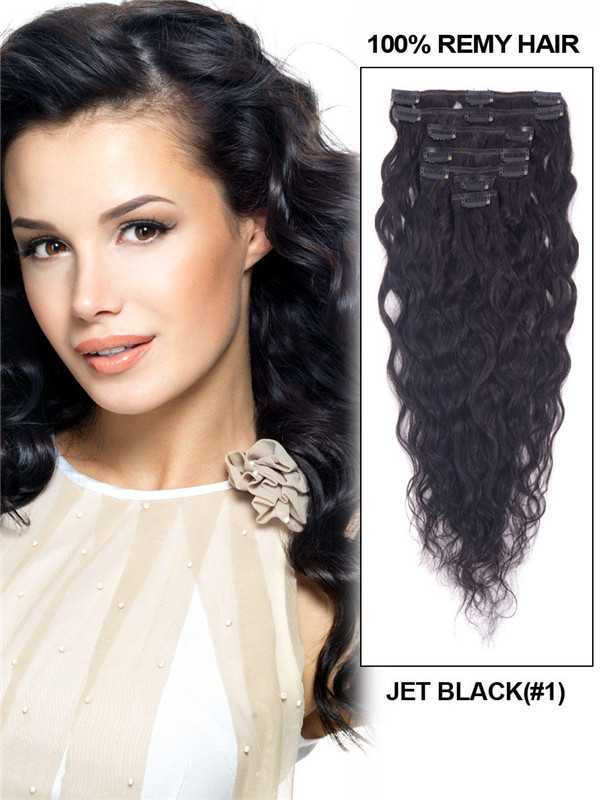 Jet Black(#1) Premium Kinky Curl Clip In Hair Extensions 7 Pieces