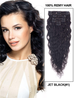 Jet Black(#1) Premium Kinky Curl Clip In Hair Extensions 7 Pieces cih009