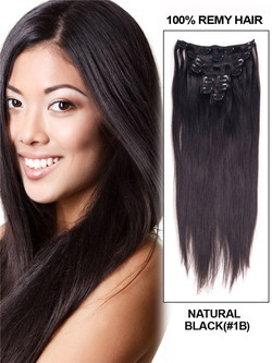 Natural Black(#1B) Ultimate Silky Straight Clip In Remy Hair Extensions 9 Pieces cih010