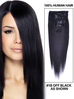 Natural Black(#1B) Deluxe Silky Straight Clip In Human Hair Extensions 7 Pieces cih011