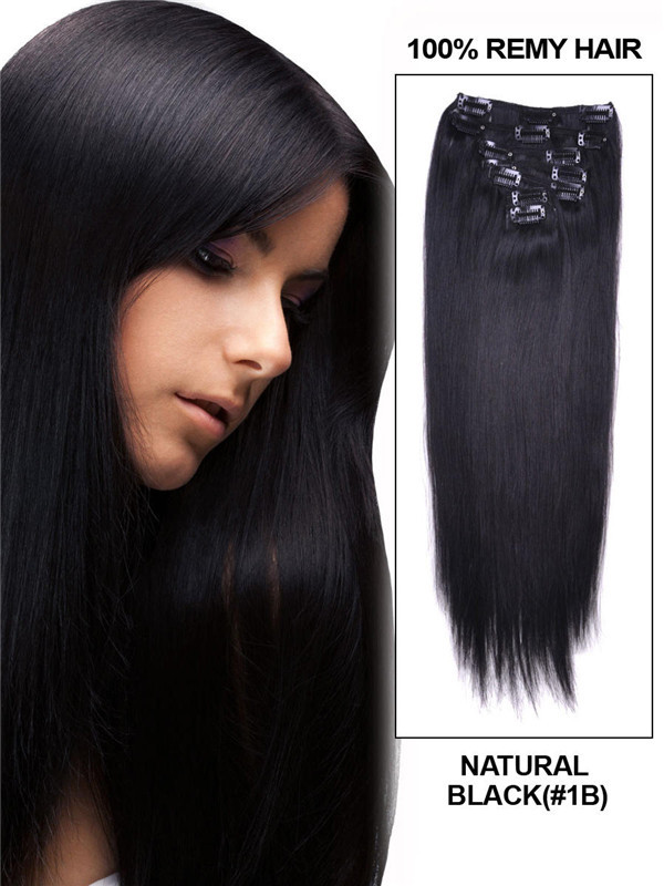 Natural Black(#1B) Premium Silky Straight Clip In Hair Extensions 7 Pieces cih012