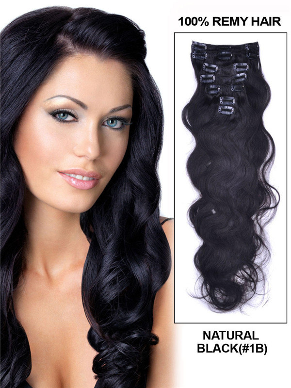 Natural Black(#1B) Premium Body Wave Clip In Hair Extensions 7 Pieces cih013