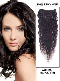 Natural Black(#1B) Premium Kinky Curl Clip In Hair Extensions 7 Pieces cih016