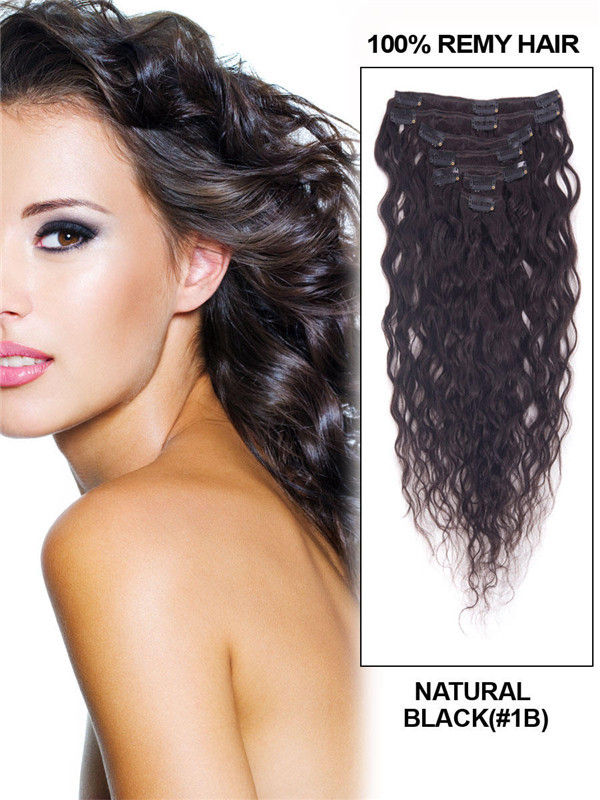 Natural Black(#1B) Deluxe Kinky Curl Clip In Human Hair Extensions 7 Pieces