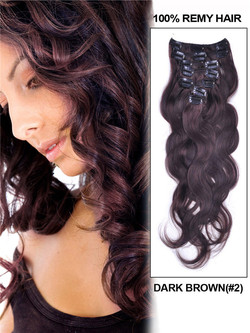 Dark Brown(#2) Premium Body Wave Clip In Hair Extensions 7 Pieces cih019