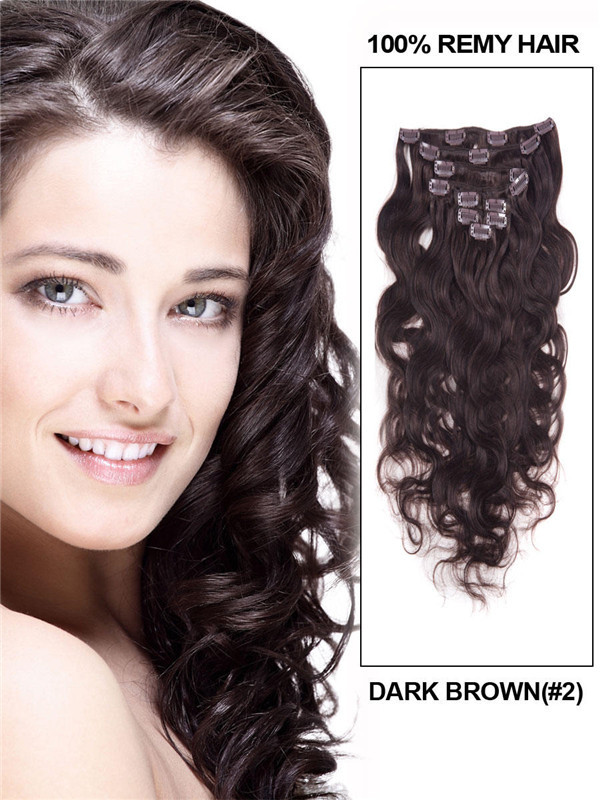 Dark Brown(#2) Ultimate Body Wave Clip In Remy Hair Extensions 9 Pieces cih021